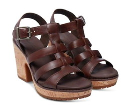 Timberland Roslyn Fisherman Sandals 9 1/2 Dark Brown 9.5 Leather + Cork ... - $77.16