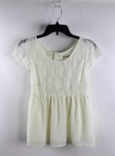 Sevradical Beige Lace Cap Sleeve Cinched Waist Back Accent Top L
