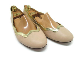 J Crew Womens Beige Leather Flats Gold Trim Size 9.5  Made In Italy - $28.42