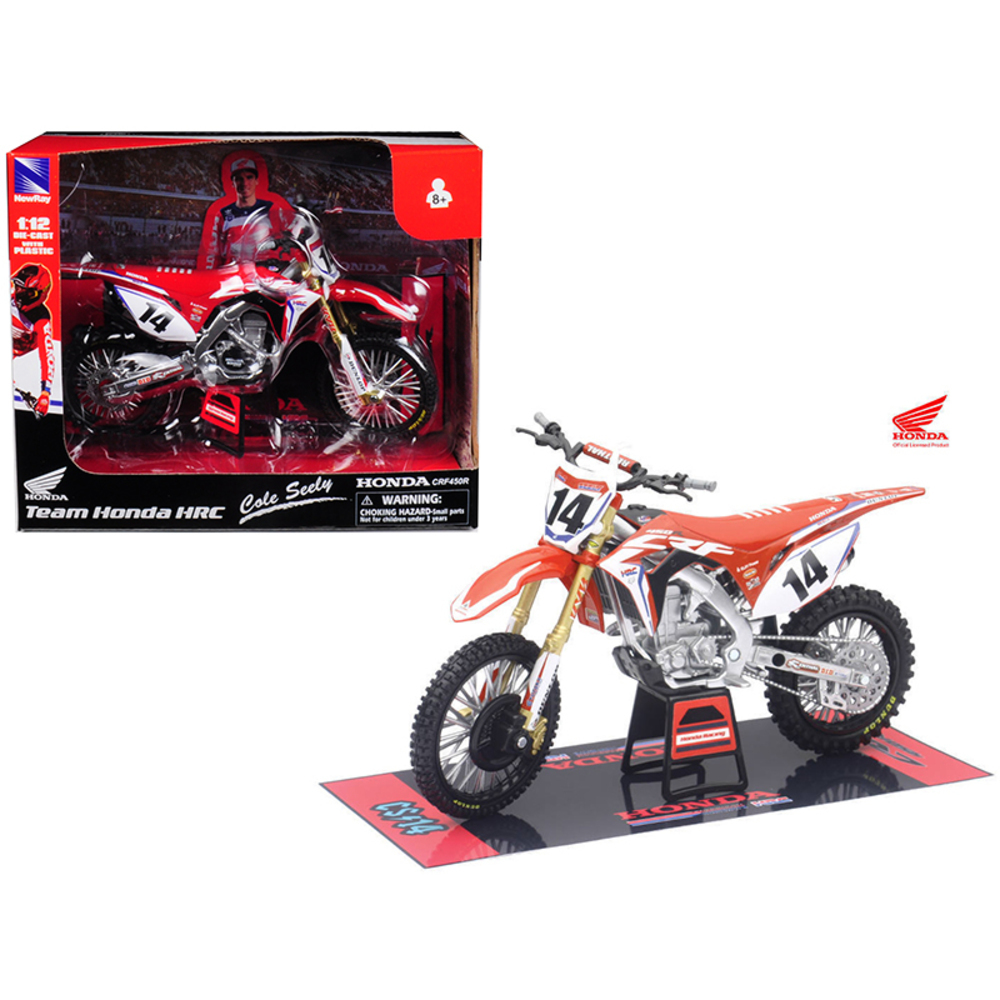 Honda Racing Team CRF450R Cole Seely #14 Motorcycle Model 1/12 by New Ray 57933 - $34.49