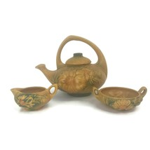 Vintage 1930s Roseville Ohio Art Pottery Peony Tea Set 5 Pieces Teapot A... - $102.81