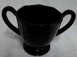 "Fostoria Fairfax Ebony Black Glass 2.5"" Sugar Bowl Mint FreeShip - $12.99"