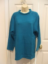 Nwt Newport News Bright Blue Roll Neck Long Leggings Sweater Size Small - $16.33
