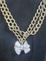 Cookie Lee Antique Gold Rhinestone Bow Pendant statement necklace double layer - $21.73