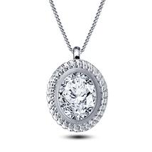 Oval Shape Sim Diamond 14k White Gold FN 925 Silver Women's Pendant With Chain - $41.55