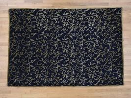 "6'x8'8"" HandKnotted Black Modern Wool and Silk Nepali Closeout Rug G40735 - $652.36"
