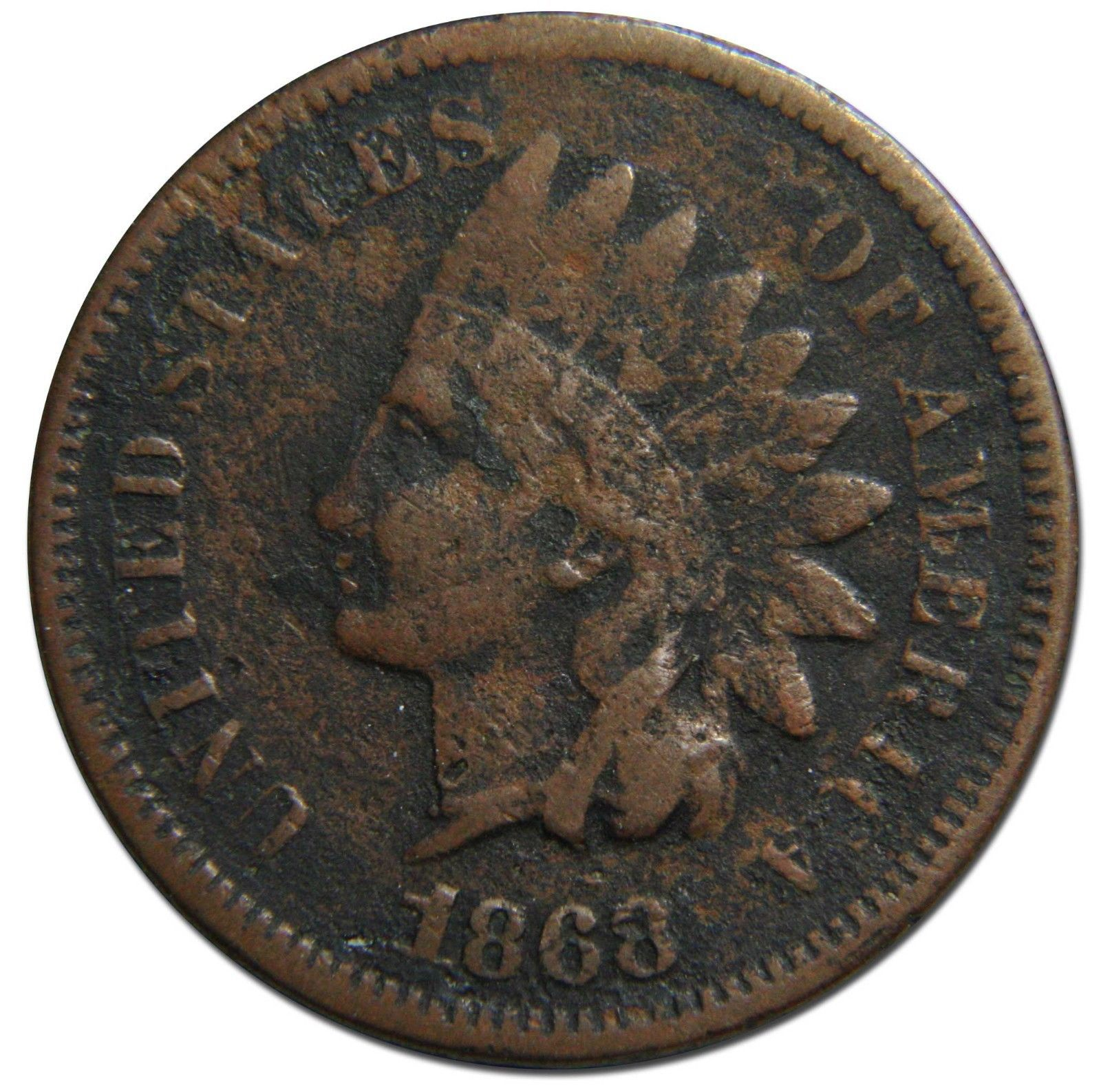 1868 One Cent Indian Head Penny Coin Lot# EA 335
