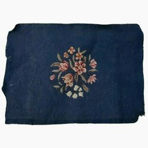 Navy Blue Needlepoint Tapestry Pink Flowers Cloth is 16.5 x13 Very Old T... - $108.90