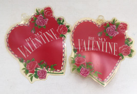 vintage  two be my valentine hearts  color clings with suction cups wind... - $12.87