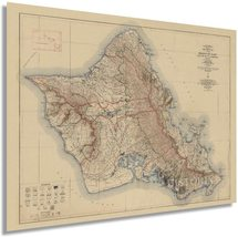 1938 Island of Oahu Map - Oahu Hawaii Vintage Map Wall Art - Topographic... - $34.99+