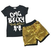 "Cute Kids Clothing ""OMG Becky Look At Her Bow"" Girl's Sequin Boutique Ou... - $22.49"