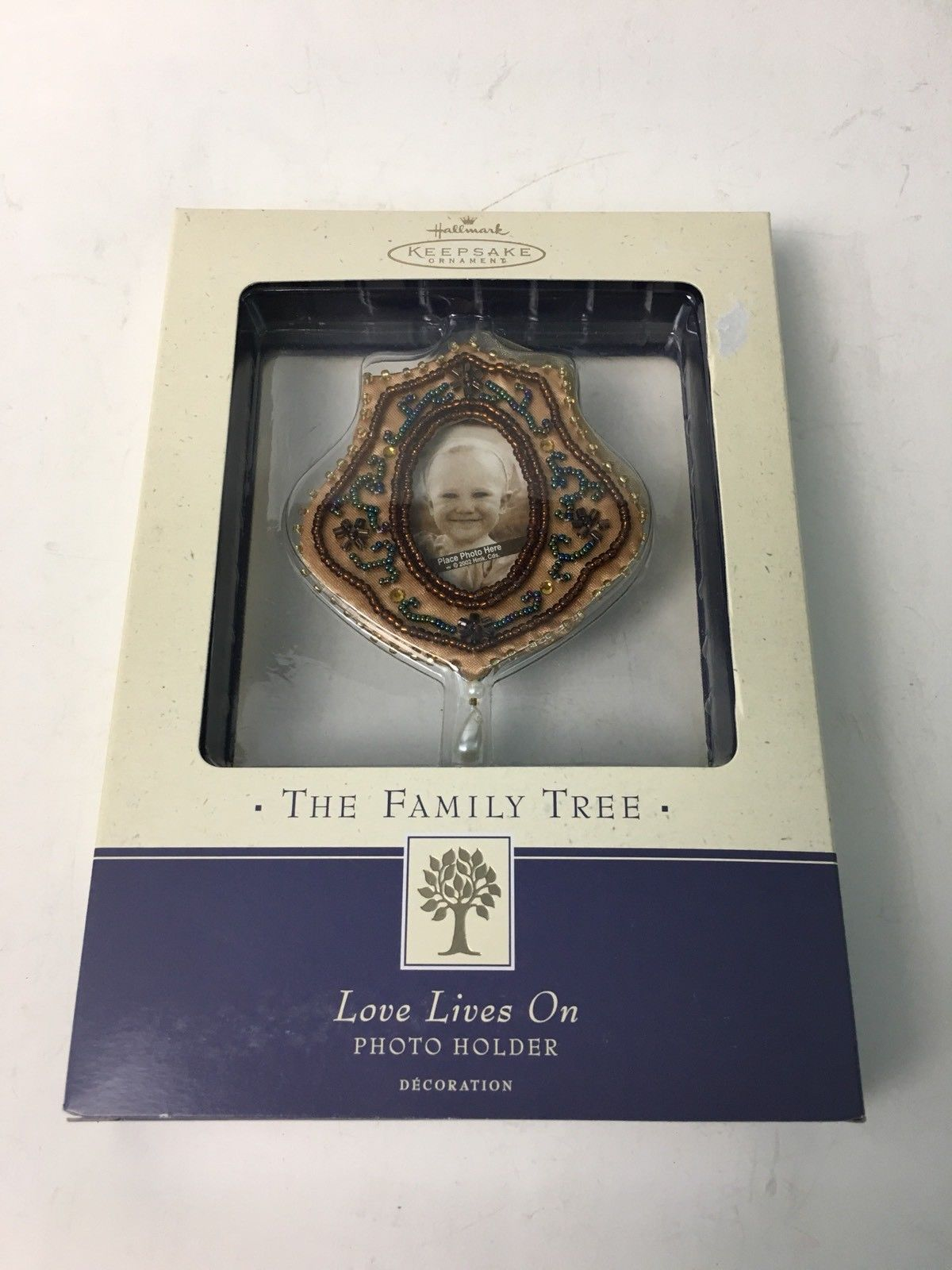 LOVE LIVES ON Family Tree Photo Holder NEW Hallmark Ornament BEADS GLASS 2002