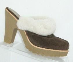 Jessica Simpson 'Korrin' brown suede fur lined slip on clog mule heels 8... - $33.30