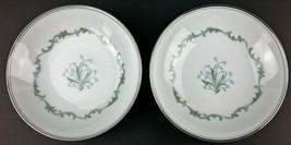 Noritake China Chaumont Dessert Bowl Lot 2 Japan 6008 Platinum Edge Frui... - $12.56
