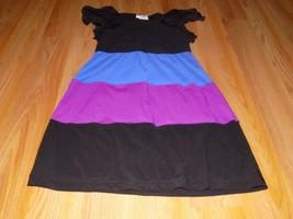 Size 10 Runs Small Rare Editions Tiered Tunic Dress Black Blue Magenta P... - $16.00