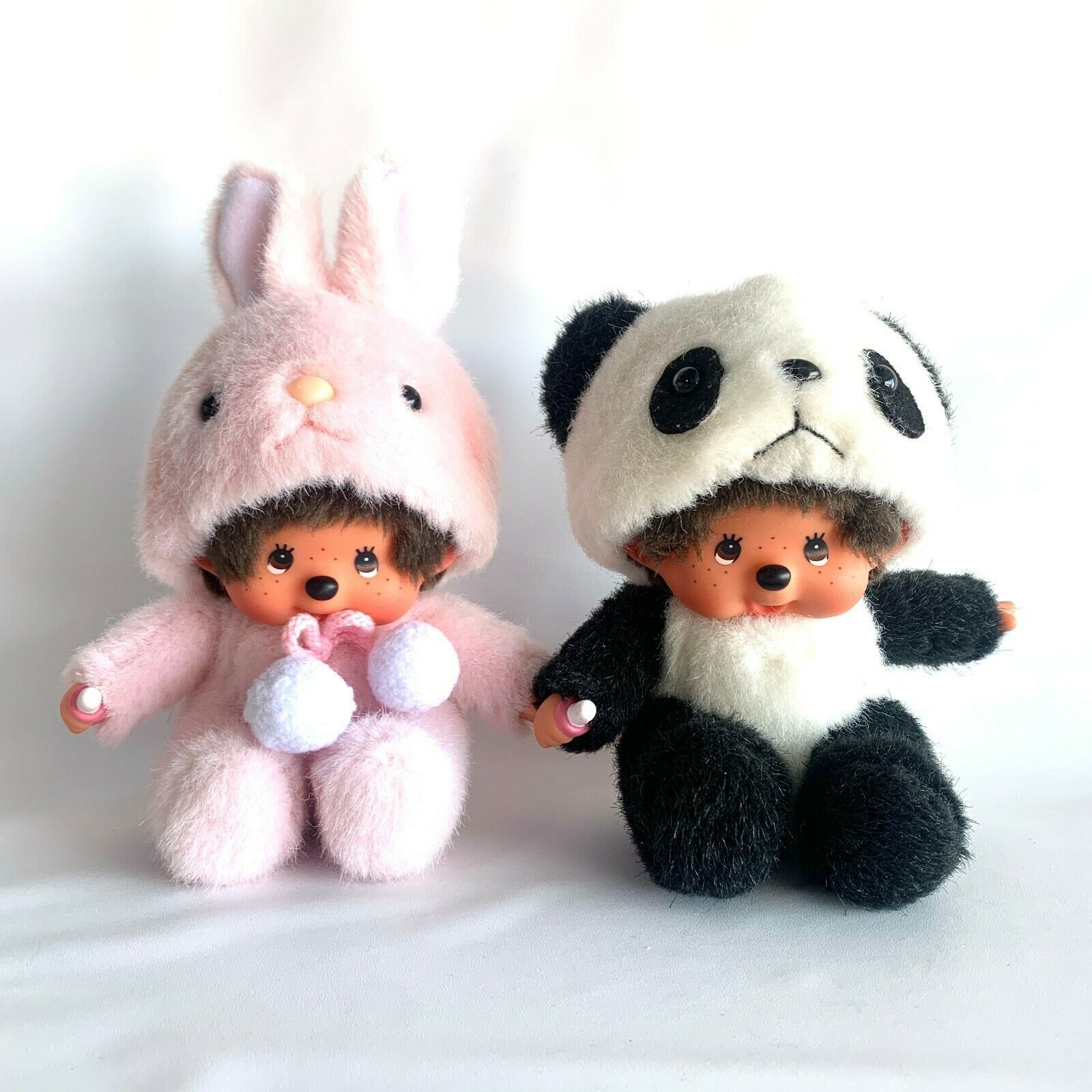 "Primary image for Vintage Monchichi Sekiguchi Pink Bunny Rabbit & Panda Bear Plush 6-7"" NON-Smoke"