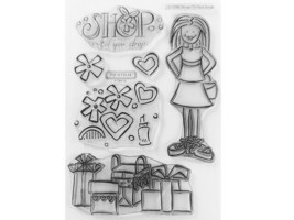 Close to My Heart Shop Til You Drop Clear Cling Acrylic Stamp Set #C1156