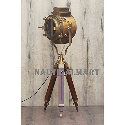 BRITISH BRASS ANTIQUE HOLLYWOOD STYLE TRIPOD FLOOR LAMP FOR LIVING ROOM BY NAUTI - $293.02