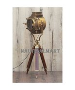 BRITISH BRASS ANTIQUE HOLLYWOOD STYLE TRIPOD FLOOR LAMP FOR LIVING ROOM ... - $293.02