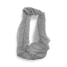 Gray White Chevron Stripped Sheer Infinity Scarf Loop Sheer Wrap Scarves... - $9.49
