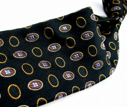 ROBERT TALBOTT  Black with MEDALLIONS Heavy woven Mens 100 SILK Necktie ... - $23.99