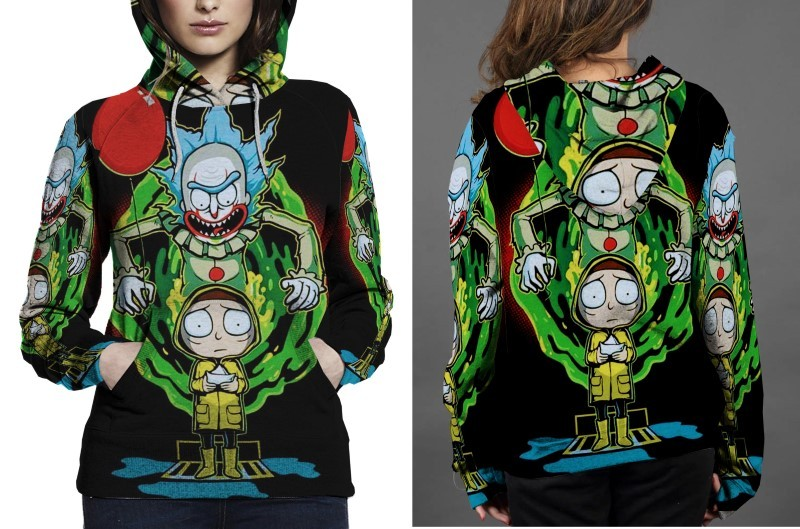 Rick and morty x pennywise hoodie women