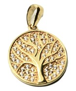 Tree of life pendant gold 18k 750 yellow with zirconia made in italy - $434.29