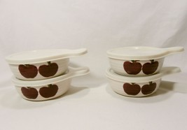 "Set of 4 Alco Stoneware Red Apple 5.5"" Cereal Soup Bowls with Handles & ... - $31.36"