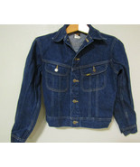 Vintage Lee Riders Denim Blue Jeans Jacket Size 16 Boys 100% Cotton Made... - $49.99