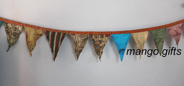 Handmade Multi-Color Hanging Decoration Silk Fabric Bunting 12 Xmas Part... - $11.30