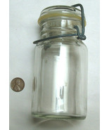 Vintage Small 8oz Clear Canning Fruit Jar, Metal Wire Bail Clamp Flip Seal - $23.31