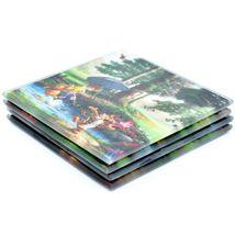 Thomas Kinkade Winnie the Pooh Prints 4 Piece Fused Glass Coaster Set w Holder image 6