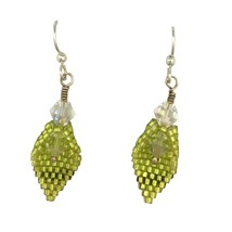 Custom Conçu avec Cristal Swarovski Citron Vert Perlé Pétale Boucles D'O... - $34.79 CAD