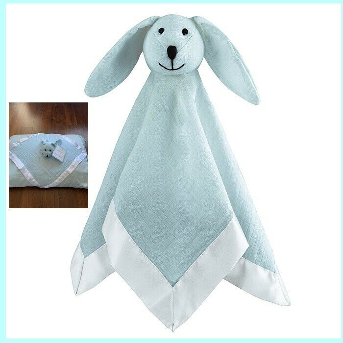 Primary image for Aden Anais Solid Muslin Lovey Security Baby Blanket Blue Bunny Rabbit Ship Fast