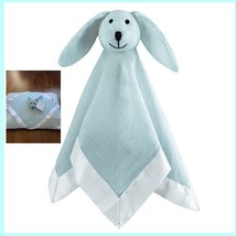 Aden Anais Solid Muslin Lovey Security Baby Blanket Blue Bunny Rabbit Sh... - $22.73