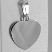18K WHITE GOLD HEART, PHOTO & TEXT ENGRAVED PERSONALIZED PENDANT 22 MM, MEDAL image 1