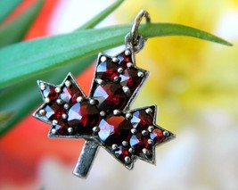 Vintage Bohemian Czech Red Garnet Maple Leaf Miniature Pendant Charm - $59.95