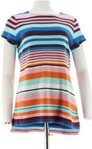 Isaac Mizrahi Engineered Stripe Short Slv Tunic Pink Multi M NEW A288654 - $37.60