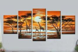 Giraffe family paint / acrylic paint / pattern paint/ African paint - $120.00