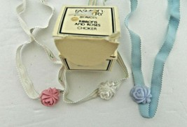 Fashion Jewelry by Avon Ribbons and Roses Chokers Blue Pink White 3 Rose Slides  - $21.66