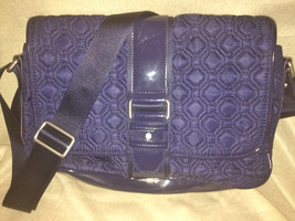 Vera Bradley Navy Blue Microfiber Large Tote Shoulder Hand Bag - £19.36 GBP