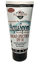 All Terrain AquaSport SPF 30 6oz,Water Resistant Mineral Sunscreen, Oxybenzone