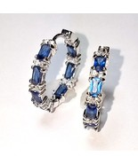 Blue Sapphire Baguette & Clear CZ Cubic Inside Outside Rhodium Hoop Earr... - $39.59