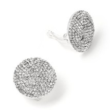 Silver Crystal Rhinestones in a Round Shape Base Clip Earring
