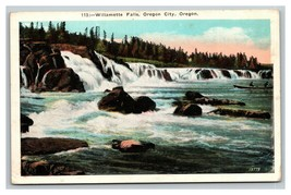 VINTAGE Americhrome White Boarder Postcard  Williamette Falls Oregon Cit... - $8.88
