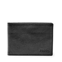 new nwt wallet Fossil ADAM BIFOLD black or brown mens - $26.04