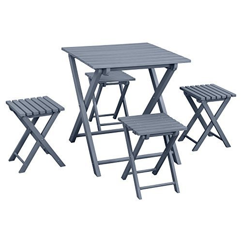 Island Gale 5 Piece All-weather Patio Bistro Set Folding Table and Chair Set, Ou