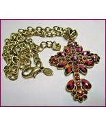 KIRKS FOLLY Bejeweled Faith Cross multi-color rhinestones purple gold pi... - $54.45
