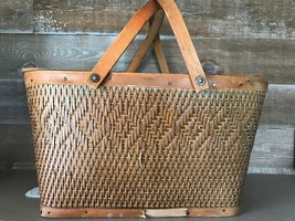 Vintage Weaved Design Double Handled Picnic Basket with Cover - $1.216,84 MXN