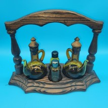 Vintage Amber Glass Cruet Vinegar Oil Salt Pepper Set Wood Caddy - $24.75